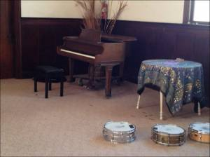 Polymorph piano and some of Dave's snare drums collection.