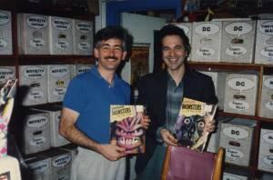 Cartoonists Richard Sala and Mark Landman in a nerd-off 1990