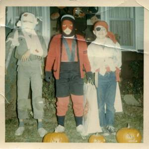 The StiKman dressed as Ant-man for Halloween in 1965 with the brothers Eagan